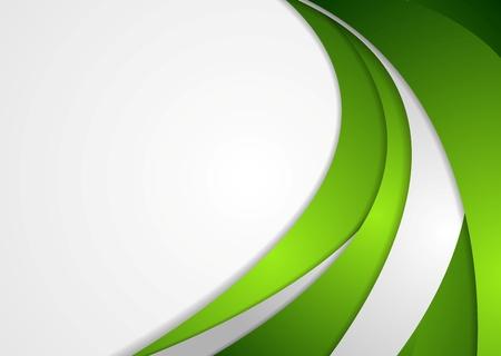 Green and grey corporate wavy background. Vector design Ilustração