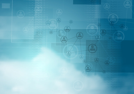 Blauwe wolkenlucht abstract tech achtergrond. vector design