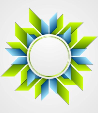 circle frame: Bright corporate geometric logo with circle. Vector design Illustration