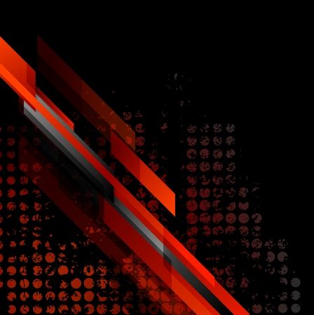 Dark red grunge tech abstract background. Vector design