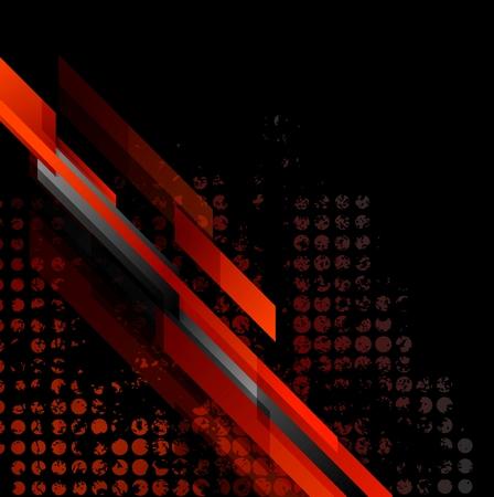 Dark red grunge tech abstract background. Vector design