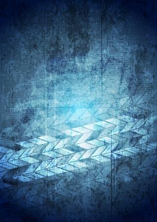 Blue grunge tech geometric background.