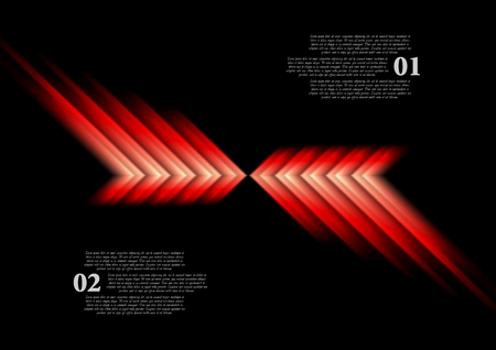red arrows: Glow red arrows abstract background. Vector design Illustration
