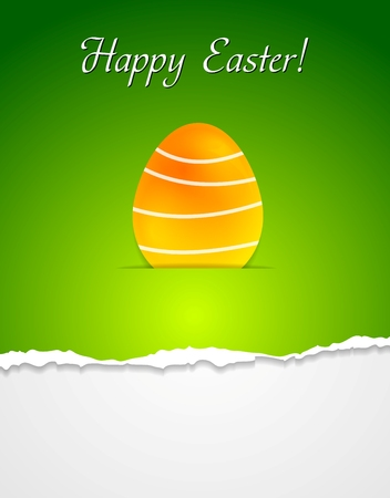 at the edge of: Easter egg green background with ragged edge paper