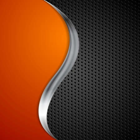 Metal wave and black perforated texture background. Vector design