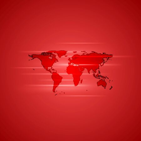 Red glowing background with world map. Vector