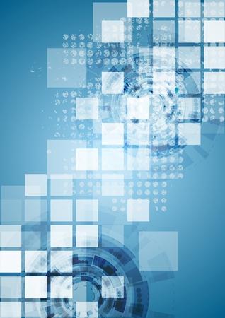 Heldere blauwe tech achtergrond. Vector ontwerp
