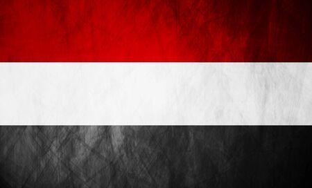 yemen: Republic of Yemen grunge flag. Vector background