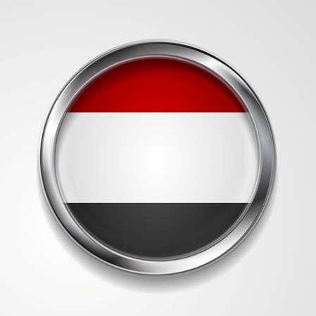 flag button: Republic of Yemen metal button flag. Vector design