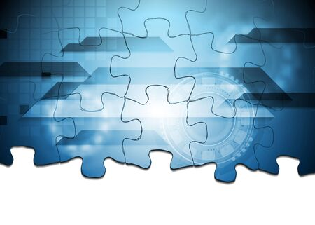 Corporate technology background. Puzzle vector design