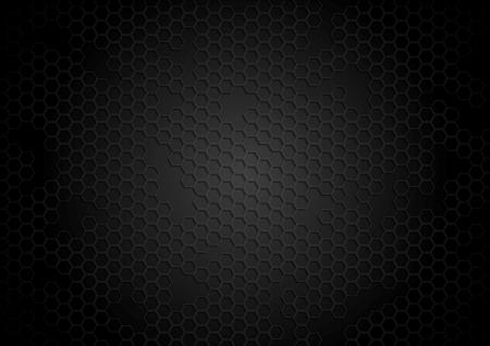 Dark tech background with hexagons. Vector template
