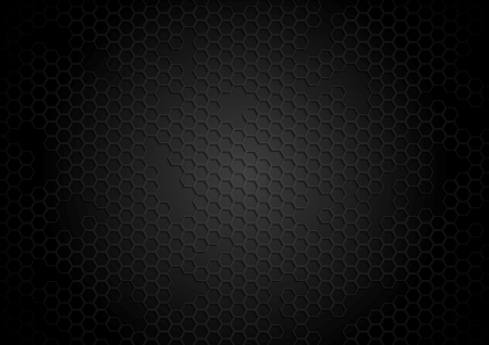 Dark tech background with hexagons. Vector template