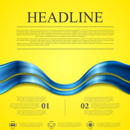 contrast: Abstract contrast yellow blue wavy background. Vector design