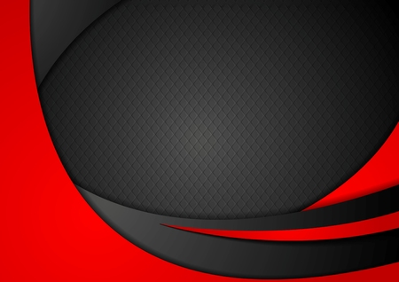 Red and black abstract corporate waves. Vector background