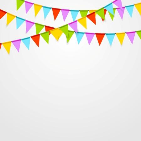 축하: 파티 플래그는 밝은 추상적 인 배경을 축하합니다. 벡터 아트 디자인