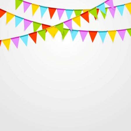 triangular banner: Party flags celebrate bright abstract background. Vector art design