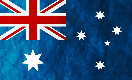 Grunge illustration of Australian flag. Vector background