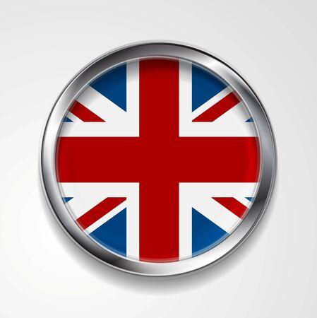 United Kingdom of Great Britain metal button flag. Vector design Vector