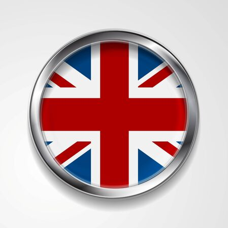 union jack flag: United Kingdom of Great Britain metal button flag. Vector design Illustration