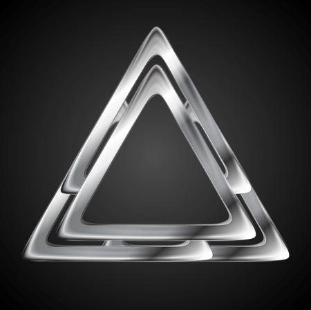 Abstract metallic triangle logo design template. Vector background Vector