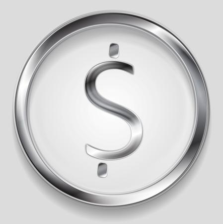 metallic background: Concept metallic dollar symbol in circle. Vector background