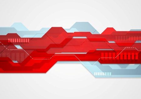 Abstract red blue tech geometric illustration. Vector web template design