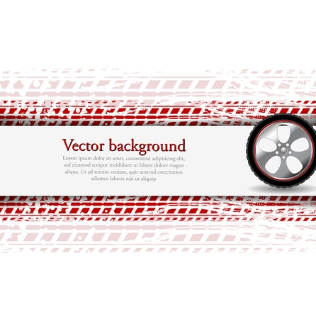 Wheel and grunge tire track. Abstract corpoate background. Vector design Vector