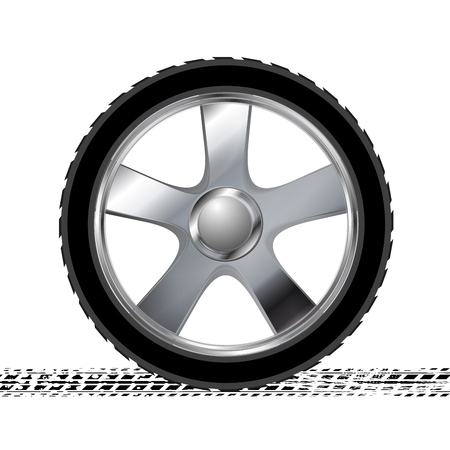 tire cover: Wheel and grunge tire track abstract background. Vector illustration Illustration