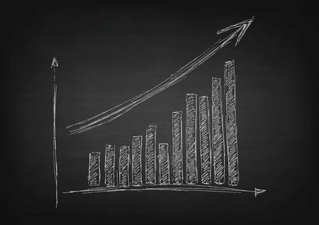 Growing graph hand drawing with arrow on black chalkboard. Vector design