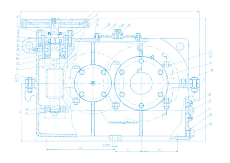 documentation: Vector background of abstract engineering drawing. Tech documentation of detail reducer project. Blueprint design