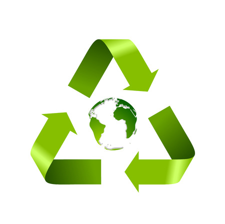 recycle logo: Green recycle logo and globe isolated on white. Vector background