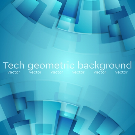 Abstract blue geometric technology background. Vector design