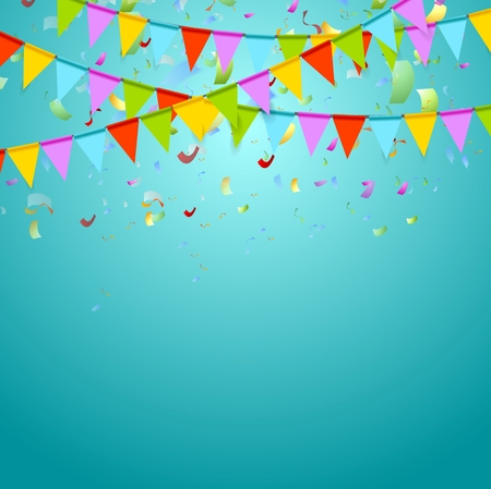 confetti: Party flags colorful celebrate abstract background with confetti. Vector design
