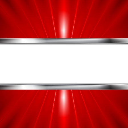 Glow red beams and metallic banner. Vector background for your design