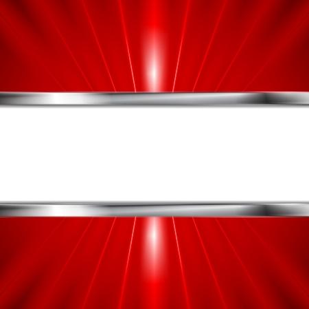 Glow rode balken en metallic banner. Vector achtergrond voor uw ontwerp