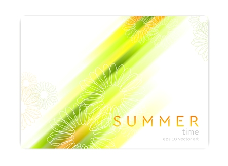 camomiles: Abstract concept summer background with glowing stripes and camomiles. Vector design Illustration