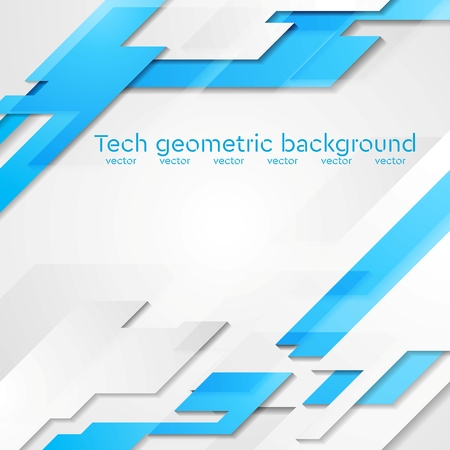 Blue grey hi-tech geometric abstract bright background. Vector card design Ilustração