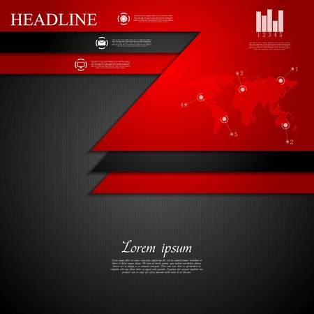 black and red: Abstract dark corporate tech background. Vector design