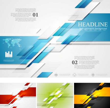web template: Abstract bright corporate tech background. Four colors, vector card design