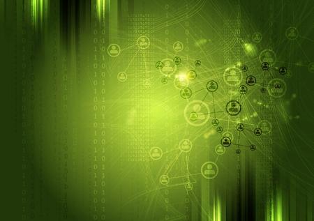 Team communication concept green background. Vector tech grunge design