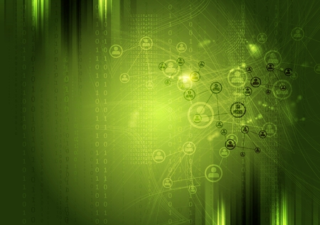 networks: Team communication concept green background. Vector tech grunge design
