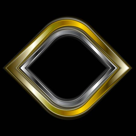 silver metal: Bright gold and silver metal logo shape. Vector design
