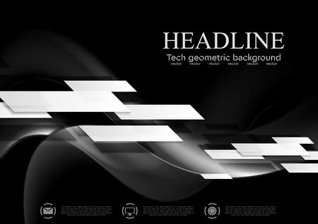 dessin noir et blanc: Sombre abstraite technologie ondul�e fond. Conception de vecteur g�om�trique