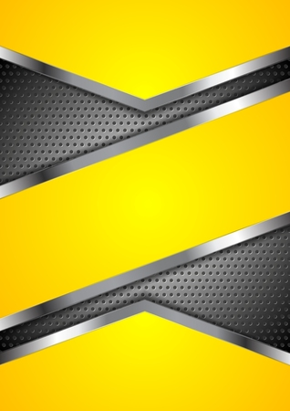 Abstract yellow perforated background with metallic design. Vector illustration Çizim