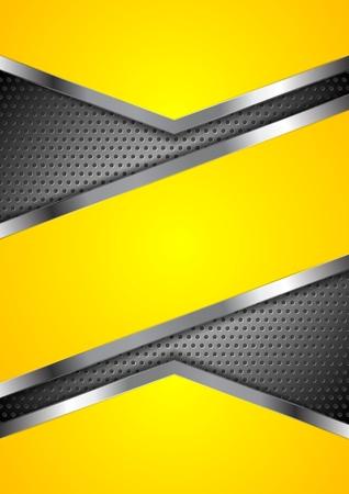Abstracte gele achtergrond met geperforeerde metalen design. Vector illustratie Stock Illustratie