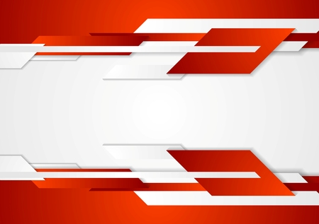 Red tech geometric design. Vector corporate background
