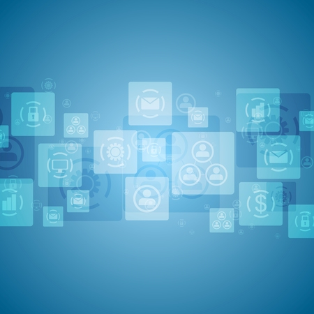 social communication: Bright tech social communication design. Vector blue background