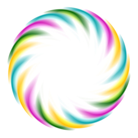iridescent: Colorful iridescent round logo on white background. Vector art design
