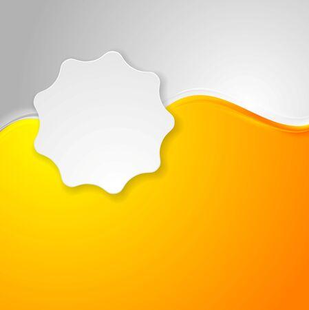 Bright orange waves and white label sticker. Vector background Illustration