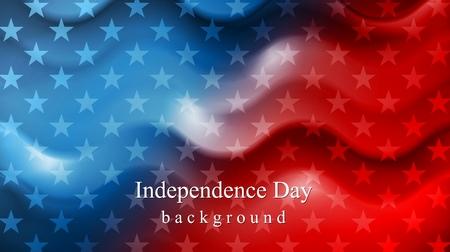 banderas americanas: Brillante ondulado fondo Día de la Independencia. Diseño vectorial Vectores